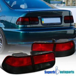 For 1996 2000 Honda Civic 2dr Coupe Tail Lights Brake Lamps Red smoke
