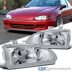 For 92 95 Honda Civic Replacement Clear Headlights Front Driving Bumper Lamps