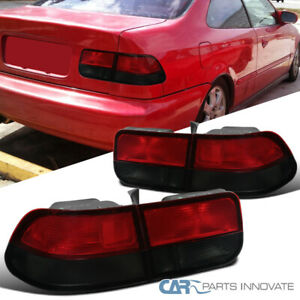 For Honda 96 00 Civic 2dr Coupe Red Smoke Rear Tail Lights Parking Brake Lamps