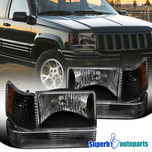 For 1993 1996 Jeep Grand Cherokee Head Lights Bumper Lamps Corner Lights 6pc