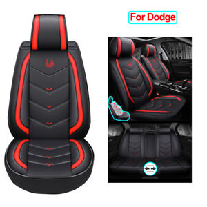 Leather Car Seat Covers Full Set Seat Accessories Fit For Dodge Charger Durango