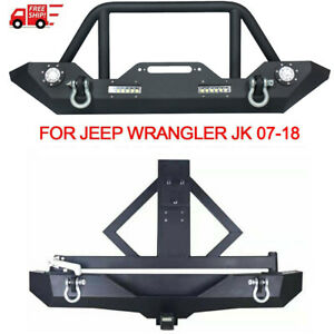 For 07 18 Jeep Wrangler Jk Winch Plate Front Rear Bumper Tire Carrier Led Lights