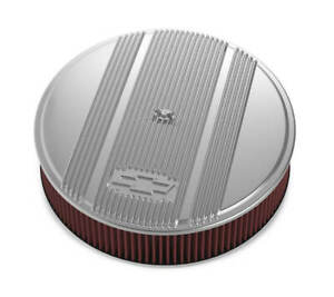Holley 14 X 3 Finned Air Cleaner Kit Vintage Series Premium Filter Polished