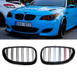Gloss Black M Color Front Kidney Grill Grille For Bmw E60 E61 5 Series 2003 2010