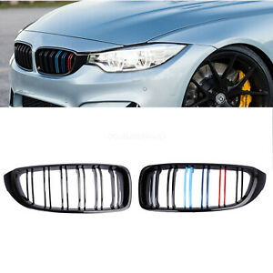 Front Kidney Grille Grill For Bmw 4series F32 F33 F36 Gloss Black Dual Slat M4
