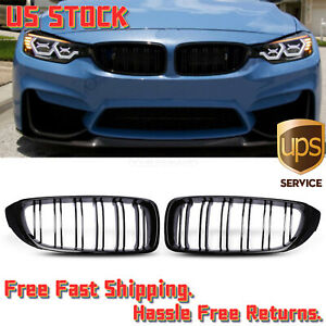 Gloss Black Front Kidney Grill Grilletwin Fins For Bmw F33 F32 F36 2014 2020