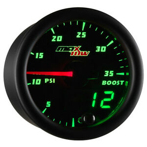 Maxtow 52mm Diesel Boost 35 Psi Turbo Gauge W Green Digital Analog Readouts