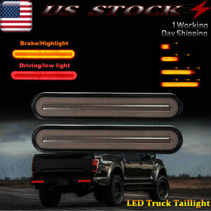 2x Smoked Led Truck Trailer Stop Flowing Turn Signal Brake Tail Light Bar Usa