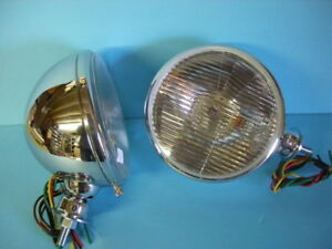 King Bee Style Headlights Chrome W Signals 1928 1929 1931 1932 1933 1934 Ford