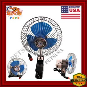 12v Dashboard Oscillating Vehicle Car Van Truck Home Desk Clip On Fan Portable