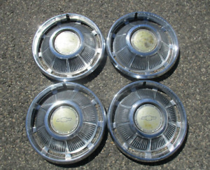 Factory 1969 Chevy Impala 14 Inch Hubcaps Wheels Covers Oem