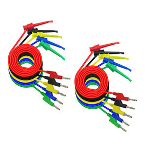 2 Set Banana Plug To Crocodile Alligator Clip Cable Stackable Test Lead Wire