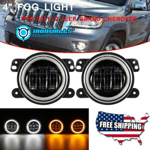 4 Round Led Fog Lights Driving Bumper Lamps For 2011 2012 Jeep Grand Cherokee