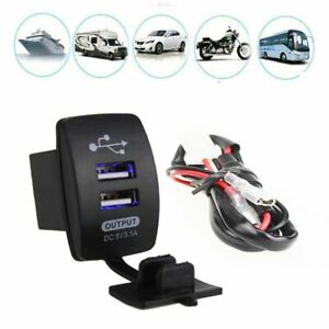 12v 24v 3 1a Dual Led Usb Car Auto Power Supply Charger Port Socket Waterproof