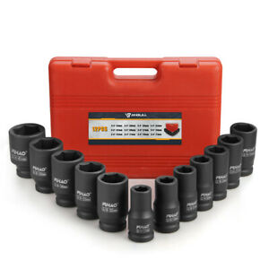 Anbull 3 4 Drive Deep Impact Socket Set 12pcs Metric Sizes 17 41mm Crv Steel