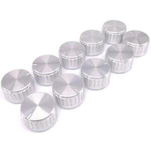 10pcs Silver Aluminum Volume Control Knob Amplifier Wheel 30 17mm D shaft