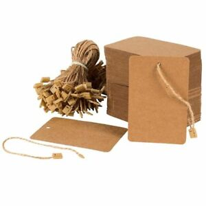 200pcs Kraft Paper Merchandise Tags With Hang Price Marking Tag String Fasteners
