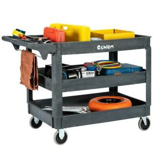 Large 3 Shelf Plastic Utility Service Cart Rubber Casters 500lb For Hotel