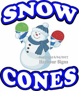 Snow Cones Decal choose Your Size Sno Kone Food Truck Sign Concession Sticker