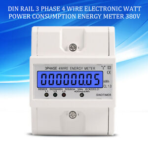 Electronic Din Rail 3 Phase 4 Wire Watt Power Consumption Energy Meter 380v Ac