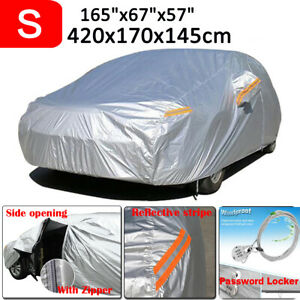 Small Full Sedan Car Cover 190t Waterproof Dust Rain Resistant Protector Silver