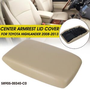 Fits For 2008 2013 Toyota Highlander Center Console Lid Armrest Cover Pu Leather