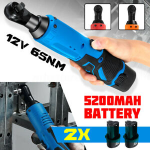 12v 3 8 65nm Electric Cordless Right Ratchet Angle Wrench Tool 2x Battery