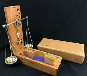 Vintage Wooden Gold Gem Beam Balance Measuring Scale West Germany W All Parts