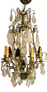Quality Antique French Bronze Crystal Girandoles Chandelier Large Fruit Grapes