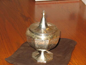 Antique Harris And Shafer Co Covered Pedestal Candy Dish Bowl Sterling Silver
