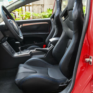 2pcs Car Universal Racing Seats Pu Leather Recline Adjustable Seats With2 Sliders