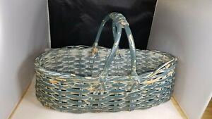 Antique Split Handle Easter Egg Basket In Wonderful Old Grungy Blue Paint