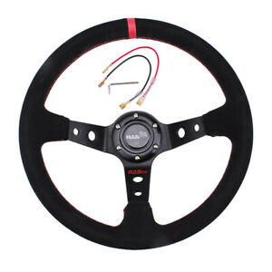 Muge Racing 14inch Deep Dish Drifting Racing Steering Wheel Suede Leather Us