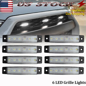 8 Pcs Universal Raptor Style White Led Grille Light Kit Waterproof Fits 1955 Ford