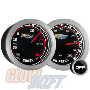 Glowshift 52mm Tinted 30spsi Boost vacuum 100psi Oil Pressure Gauge Set