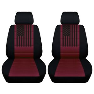 2 Front Customized Seat Covers With An American Flag Fits Chevrolet Silverado