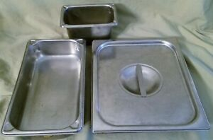 3 Stainless Steam Table Hotel Buffet Pans W 1 Lid Vollrath Syscoware More