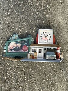 Burwood Products Coca-Cola Wall Clock Route 66 Gas Station 55 Chevy Working!
