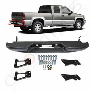 Rear Step Bumper Black Steel For 1999 2007 Gmc Sierra Chevrolet Silverado
