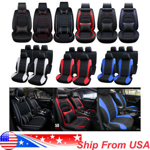 Car Seat Cover 5 Seats Leather Universal Protector Full Set Cushion W N Pillows