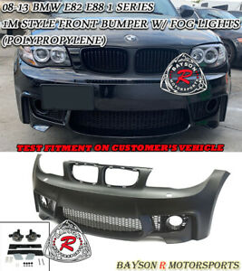1m Style Front Bumper Glass Fog Lights Fit 08 13 Bmw E82 E88 2dr 1 Series