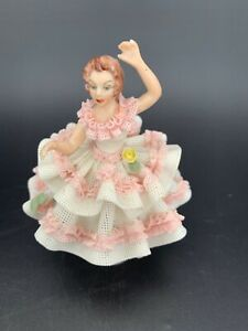 Vintage Germany Porcelain Dresden Lace Woman Dancing In Dress Figurine Small