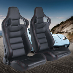 2pc Universal Bucket Racing Seats Black Red Stiching Leather Reclinable Slider