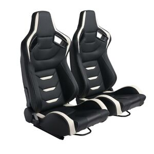 2x Bucket Racing Seats Black White Stiching Leather Reclinable Universal sliders