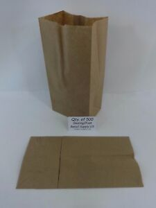 Qty 500 4 Paper Brown Kraft Natural Sack Grocery Merchandise Retail Bags