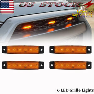 Universal 4pcs 3 8 Amber Led Grille Lights Surface Mount Front Bumper Grill