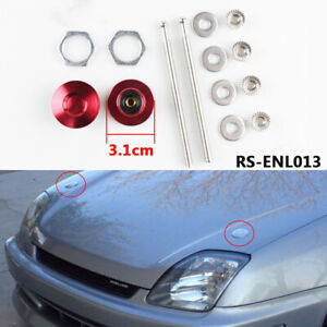 Universal Push Button Billet Hood Pins Engine Cover Lock Clip Kit 53mm Red blue