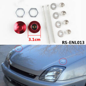 Universal Push Button Billet Hood Pins Engine Cover Lock Clip Kit 101mm Red