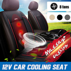 12v Unbiversal Car Seat Cushion Cover Pad Cooling Fan Cooler Massage Pu Leather