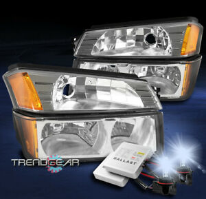 For 2002 2006 Chevy Avalanche 1500 2500 Headlight Bumper Lamp Chrome W 8000k Hid